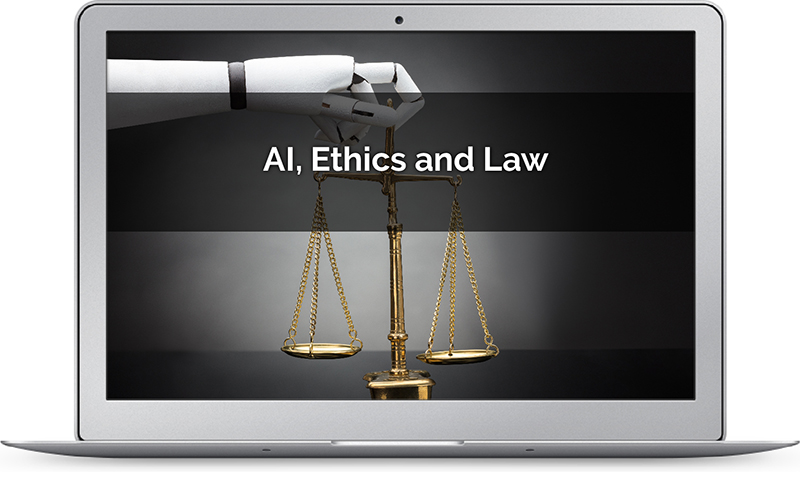 AI image depicting issues of ethics and law